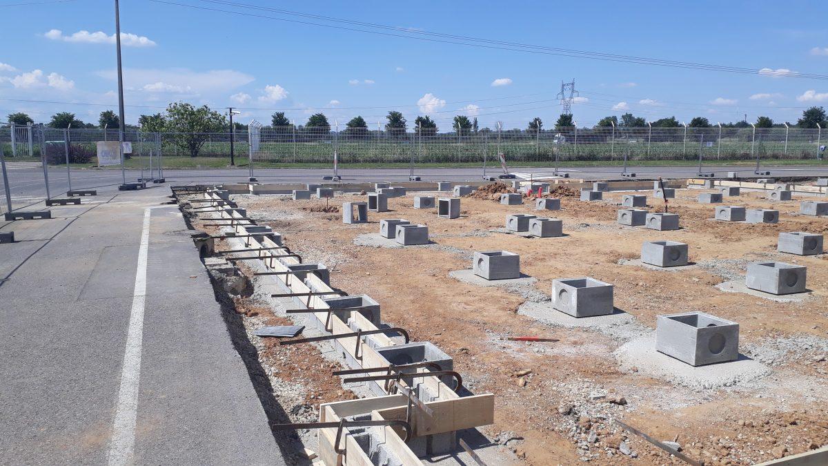 Fondations pour bâtiment modulaire